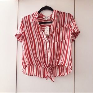 NWT Hippie Rose Camp Shirt in Apricot Red Stripe